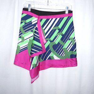 Carven Silk mini skirt XS S asymmetric multicolor
